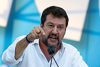 "Italian far-right League party's leader Matteo Salvini speaks on the stage during the so-called ""Italian Pride!"" political rally against government's economic policies in St. John Lateran Square, Rome, Italy, October 19, 2019.<br /> Update Images Press/Riccardo De Luca"