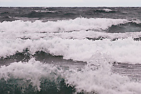 Large waves on Lake Superior along the Keweenaw Peninsula near Bete Grise Michigan in the Upper Peninsula.