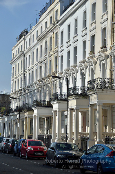 Houses in St Stephen's Gardens, Notting Hill, London, UK.