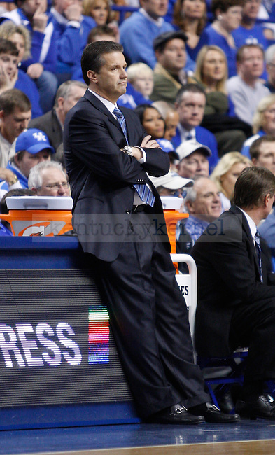 UK head coach John Calipari leans against the boards in dissapointment after a missed opportunity against LSU at Rupp Arena on Saturday, Jan. 15, 2011. Photo by Scott Hannigan | Staff