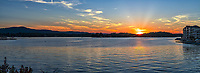 Sunset Lake Hamilton Panorama - Another capture of Lake Hamilton right after sunset in Hot Spring Arkansas. This lake is in Hot Spring Arkansas. We were in the area for the fall foliage and on our last day we came across the lake just at sunset so of course we hung around till the sun set to capture this beautiful sunset.
