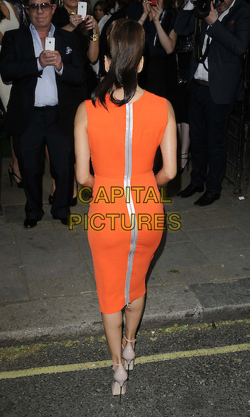 Eva Longoria.The Glamour Women Of The Year Awards 2012, Berkeley Square Gardens, Berkeley Square, London, England..May 29th, 2012.full length red orange sleeveless dress beige zip zipper silver back behind rear.CAP/CAN.©Can Nguyen/Capital Pictures.