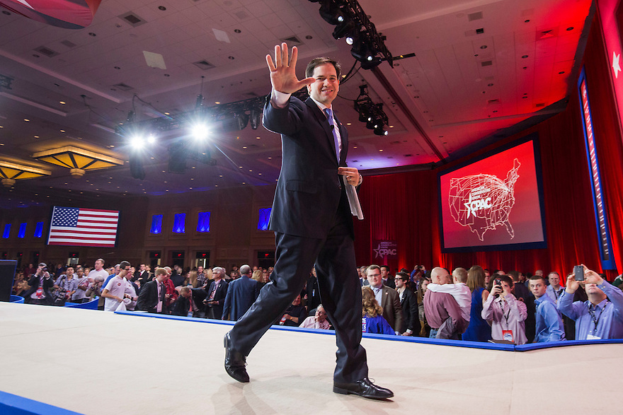 Florida Senator Marco Rubio leaves after speaking at the 2015 Conservative Political Action Conference (CPAC) outside Washington, DC