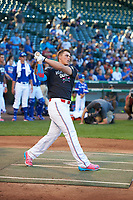 Nolan Gorman (9) of Sandra Day O'Connor High School in Glendale, Arizona during the home run derby before the Under Armour All-American Game presented by Baseball Factory on July 29, 2017 at Wrigley Field in Chicago, Illinois.  (Mike Janes/Four Seam Images)