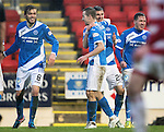 St Johnstone v Hamilton Accies&hellip;28.01.17     SPFL    McDiarmid Park<br />Graham Cummins celebrates his second goal with Steven MacLean, Murray Davidson and Danny Swanson<br />Picture by Graeme Hart.<br />Copyright Perthshire Picture Agency<br />Tel: 01738 623350  Mobile: 07990 594431
