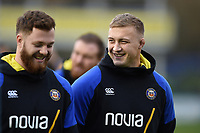 Jack Walker of Bath Rugby speaks with team-mate Max Wright prior to the match. Gallagher Premiership match, between Bath Rugby and Sale Sharks on December 2, 2018 at the Recreation Ground in Bath, England. Photo by: Patrick Khachfe / Onside Images