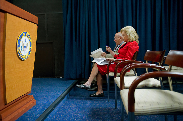 UNITED STATES - AUGUST 2: Rep. John Dingell, D-Mich.; and Rep. Carolyn Maloney, D-N.Y., prepare to hold a news conference to discuss a proposal to reform election financing. (Photo By Chris Maddaloni/CQ Roll Call)