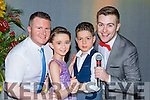 Junior dancers Abbie O'Sullivan and Simon Dennehy with coach Joe Burchill and presenter Brendan Fuller  at the Irish Cancer society Strictly Come Dancing in the INEC on Friday night