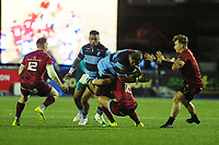 Nick Williams of Cardiff Blues is tackled by Joey Carbery of Munster during the Guinness Pro14 Round 4 match between Cardiff Blues and Munster Rugby at the Cardiff Arms Park Stadium  in Cardiff, Wales, UK. Friday 21 September 2018
