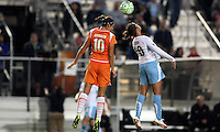 Sky Blue's Yael Averbuch (10) beats Chicago's Carli Lloyd (10) to a header.  Sky Blue defeated the Chicago Red Stars 1-0 in a mid-week game, Wednesday, June 17, at Yurcak Field.