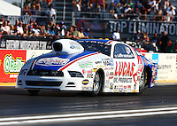 Sep 27, 2013; Madison, IL, USA; NHRA pro stock driver Larry Morgan during qualifying for the Midwest Nationals at Gateway Motorsports Park. Mandatory Credit: Mark J. Rebilas-