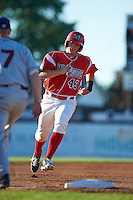 Batavia Muckdogs designated hitter Korey Dunbar (43) running the bases during a game against the Mahoning Valley Scrappers on June 23, 2015 at Dwyer Stadium in Batavia, New York.  Mahoning Valley defeated Batavia 11-2.  (Mike Janes/Four Seam Images)