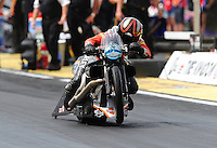 Mar. 9, 2012; Gainesville, FL, USA; NHRA pro stock motorcycle rider Eddie Krawiec during qualifying for the Gatornationals at Auto Plus Raceway at Gainesville. Mandatory Credit: Mark J. Rebilas-