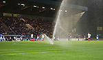 St Johnstone v FC Minsk...08.08.13 Europa League Qualifier<br /> The McDiarmid Park sprinklers come on during extra time<br /> Picture by Graeme Hart.<br /> Copyright Perthshire Picture Agency<br /> Tel: 01738 623350  Mobile: 07990 594431