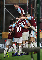 Burnley players celebrate their first goal<br /> <br /> Photographer Andrew Kearns/CameraSport<br /> <br /> The Premier League - Burnley v Liverpool - Wednesday 5th December 2018 - Turf Moor - Burnley<br /> <br /> World Copyright &copy; 2018 CameraSport. All rights reserved. 43 Linden Ave. Countesthorpe. Leicester. England. LE8 5PG - Tel: +44 (0) 116 277 4147 - admin@camerasport.com - www.camerasport.com
