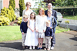 Sophie McNicholas with her family at Bellewstown NS Communion...(Photo credit should read Jenny Matthews www.newsfile.ie)....This Picture has been sent you under the conditions enclosed by:.Newsfile Ltd..The Studio,.Millmount Abbey,.Drogheda,.Co Meath..Ireland..Tel: +353(0)41-9871240.Fax: +353(0)41-9871260.GSM: +353(0)86-2500958.email: pictures@newsfile.ie.www.newsfile.ie.