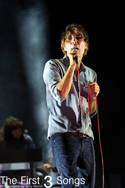 Thomas Mars of Phoenix performs during the 2013 Budweiser Made in America Festival in Philadelphia, Pennsylvania.