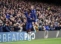 9th November 2019; Stamford Bridge, London, England; English Premier League Football, Chelsea versus Crystal Palace; Tammy Abraham of Chelsea celebrates scoring his sides 1st goal in the 52nd minute to make it 1-0 with Christian Pulisic of Chelsea - Strictly Editorial Use Only. No use with unauthorized audio, video, data, fixture lists, club/league logos or 'live' services. Online in-match use limited to 120 images, no video emulation. No use in betting, games or single club/league/player publications