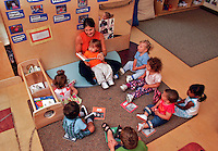 Teacher reading book to toddlers.