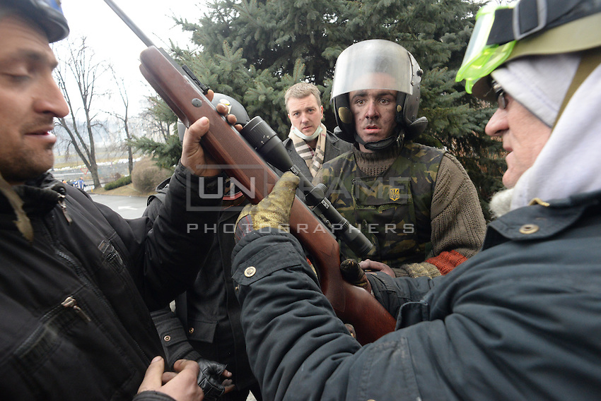 A sniper rifle seen during the violent protest.  Kiev, Ukraine