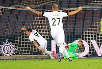 Gol  Esultanza Andrea Bellotti durante l'incontro  di calco d Seriden A  tra SSC Napoli e US Palermo    allo stadio San Paolo di Napoli , 24 Settembre  2014