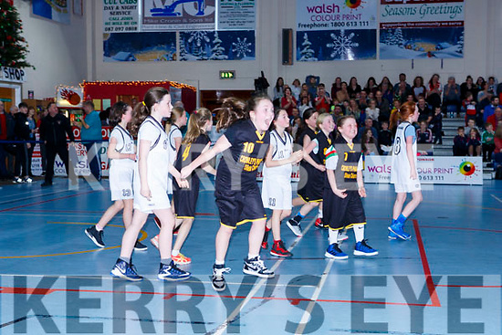 Grainne Ní Shé Gaelscoil Aogain celebrates at the final whistle of the Junior NS Girls final at the St Marys Basketball Blitz on Saturday
