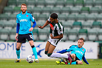 Plymouth Argyle's Jake Jervis is brought down by Fleetwood Town's George Glendon<br /> <br /> Photographer Andrew Kearns/CameraSport<br /> <br /> The EFL Sky Bet League One - Plymouth Argyle v Fleetwood Town - Saturday 7th October 2017 - Home Park - Plymouth<br /> <br /> World Copyright &copy; 2017 CameraSport. All rights reserved. 43 Linden Ave. Countesthorpe. Leicester. England. LE8 5PG - Tel: +44 (0) 116 277 4147 - admin@camerasport.com - www.camerasport.com