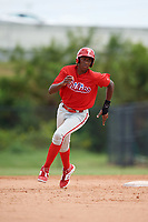 Philadelphia Phillies Carlos De La Cruz (53) running the bases during an Instructional League game against the Toronto Blue Jays on September 30, 2017 at the Carpenter Complex in Clearwater, Florida.  (Mike Janes/Four Seam Images)