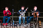 Fleadh Cheoil Na Mumhan: The Mackessey brothers from Ballydonoghue CCE performing on the Gig Rig during the Fleadh Cheoil na Mumhan in Listowel on Friday night last. L-R : Kieran, Darragh & Neilus Mackessy.