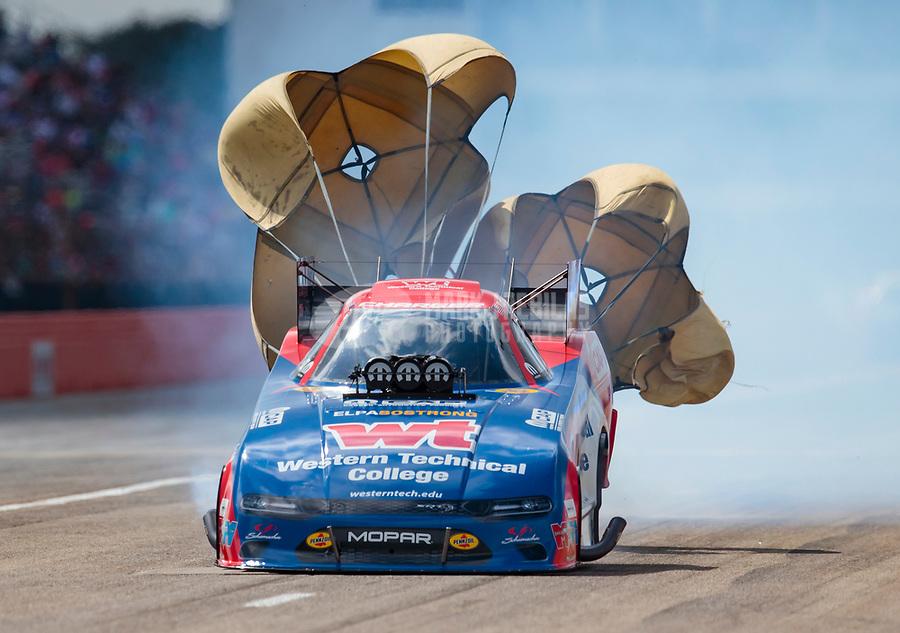 Oct 20, 2019; Ennis, TX, USA; NHRA funny car driver Matt Hagan during the Fall Nationals at the Texas Motorplex. Mandatory Credit: Mark J. Rebilas-USA TODAY Sports