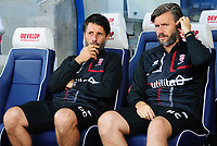Lincoln City manager Danny Cowley, left, and Lincoln City's assistant manager Nicky Cowley prior to the game<br /> <br /> Photographer Chris Vaughan/CameraSport<br /> <br /> The Carabao Cup First Round - Huddersfield Town v Lincoln City - Tuesday 13th August 2019 - John Smith's Stadium - Huddersfield<br />  <br /> World Copyright © 2019 CameraSport. All rights reserved. 43 Linden Ave. Countesthorpe. Leicester. England. LE8 5PG - Tel: +44 (0) 116 277 4147 - admin@camerasport.com - www.camerasport.com