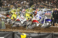 01/22/11 Los Angeles, CA:  Riders come out of turn one during the 1st ever AMA Supercross held at Dodger Stadium.
