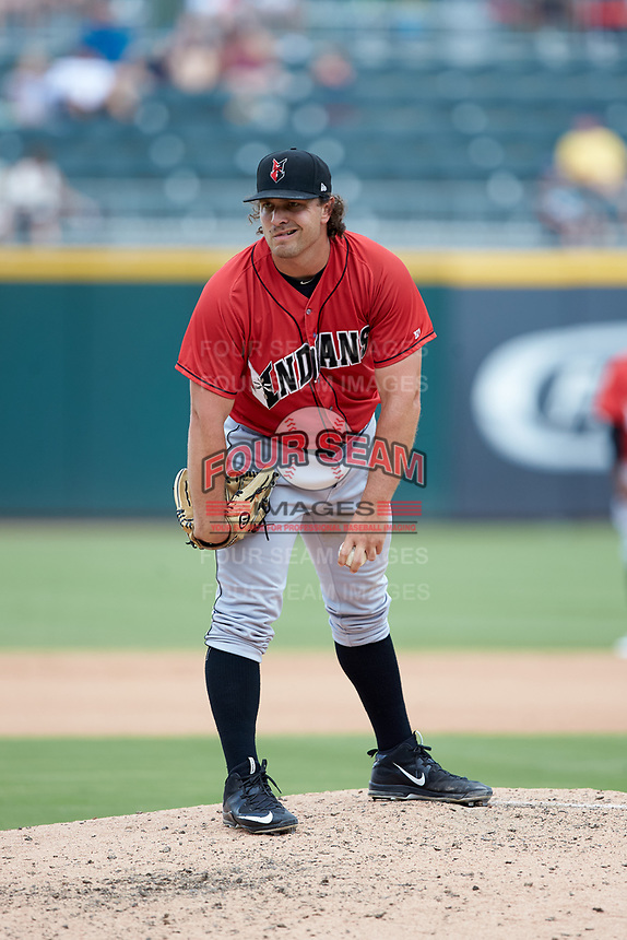 Indianapolis Indians relief pitcher Josh Smoker (43) looks to his catcher for the sign against the Charlotte Knights at BB&T BallPark on August 22, 2018 in Charlotte, North Carolina.  The Indians defeated the Knights 6-4 in 11 innings.  (Brian Westerholt/Four Seam Images)
