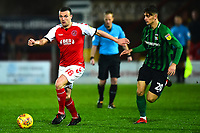 Fleetwood Town's James Wallace competes with Coventry City's Tom Bayliss<br /> <br /> Photographer Richard Martin-Roberts/CameraSport<br /> <br /> The EFL Sky Bet League One - Fleetwood Town v Coventry City - Tuesday 27th November 2018 - Highbury Stadium - Fleetwood<br /> <br /> World Copyright &not;&copy; 2018 CameraSport. All rights reserved. 43 Linden Ave. Countesthorpe. Leicester. England. LE8 5PG - Tel: +44 (0) 116 277 4147 - admin@camerasport.com - www.camerasport.com
