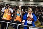 Home fans in the stands at Blackpool FC's Bloomfield Road stadium anticipating the final whistle against Liverpool FC in the Premier League. The home side won by two goals to one in front of a crowd of 16,089. It was the first time the clubs had met in a league match since Blackpool were last in the top division of English football in 1970-71.