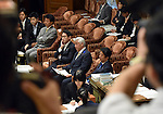 July 15, 2015, Tokyo, Japan - Japans Prime Minister Shinzo Abe attends final deliberations on the governmet-sponsored security related bills in a Diet lower house special committee on national security in Tokyo on Wednesday, July 15, 2015. The committee voted to approve the bills with the support of the ruling Liberal Democratic Party and its junior coalition partner Komeito. The bills will be put to a vote in a Diet plenary session as early as July 16, after which it will be sent to the upper house. When enacted the measures will allow Japan to exercise its right to collective self-defense. (Photo by Natsuki Sakai/AFLO) AYF -mis-
