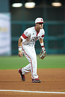 Jonathan Windham (12) of the Louisiana Ragin' Cajuns on defense against the Mississippi State Bulldogs in game three of the 2018 Shriners Hospitals for Children College Classic at Minute Maid Park on March 2, 2018 in Houston, Texas.  The Bulldogs defeated the Ragin' Cajuns 3-1.   (Brian Westerholt/Four Seam Images)