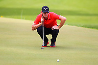 Thomas Pieters eyes up his putt on the 18th green during the BMW PGA Golf Championship at Wentworth Golf Course, Wentworth Drive, Virginia Water, England on 27 May 2017. Photo by Steve McCarthy/PRiME Media Images.