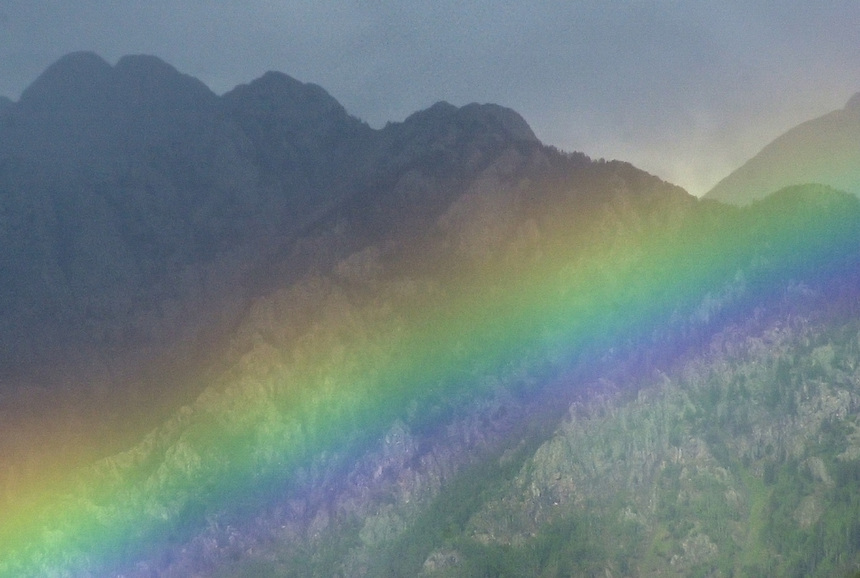 A rainbow is seen from Durango Mountain Resort towards the Twilight Range in southwestern Colorado in August 2003.