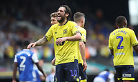 Blackburn Rovers' Danny Graham celebrates scoring his side's first goal <br /> <br /> Photographer Rachel Holborn/CameraSport<br /> <br /> The EFL Sky Bet Championship - Ipswich Town v Blackburn Rovers - Saturday 4th August 2018 - Portman Road - Ipswich<br /> <br /> World Copyright &copy; 2018 CameraSport. All rights reserved. 43 Linden Ave. Countesthorpe. Leicester. England. LE8 5PG - Tel: +44 (0) 116 277 4147 - admin@camerasport.com - www.camerasport.com