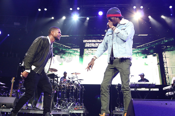 NEWARK, NJ - DECEMBER 3: Usher and Young Thug at the 2016 Hot 97 Hot 4 The Holidays Concert at the Prudential Center in Newark, New Jersey on December 3, 2016. Credit: Walik Goshorn/MediaPunch