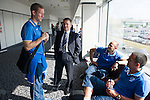 Rosenborg v St Johnstone....17.07.13  UEFA Europa League Qualifier.<br /> Chairman Steve Brown talks with Fraser Wright, Graham Kirk and Callum davidson at Edinburgh Airport<br /> Picture by Graeme Hart.<br /> Copyright Perthshire Picture Agency<br /> Tel: 01738 623350  Mobile: 07990 594431