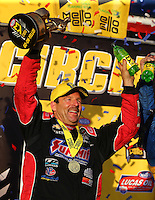 Feb 14, 2016; Pomona, CA, USA; NHRA pro stock driver Greg Anderson celebrates after winning the Winternationals at Auto Club Raceway at Pomona. Mandatory Credit: Mark J. Rebilas-USA TODAY Sports