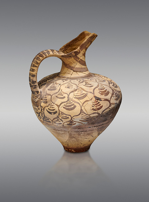 """Minoan decorated jug  with stylised floral design , Konssos  'Unexplored Mansion"""" 1450-1370 BC; 1400-1250 BC; Heraklion Archaeological  Museum, grey background"""
