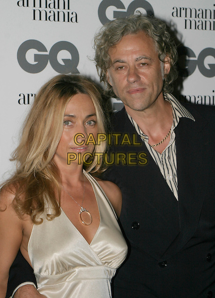 BOB GELDOF & JEAN MARIE.The 8th Anual GQ Men of The Year Awards,.The Royal Opera House,.London, 6th September 2005.portrait headshot black suit cream satin dress couple .www.capitalpictures.com.sales@capitalpictures.com.© Capital Pictures.