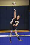 27 APR 2014: Alex McColgin (4) of Juniata College serves against Springfield College during the Division III Men's Volleyball Championship held at the Kennedy Sports Center in Huntingdon, PA. Springfield defeated Juniata 3-0 to win the national title.  Mark Selders/NCAA Photos