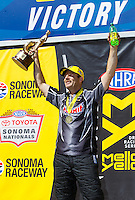 Jul 31, 2016; Sonoma, CA, USA; NHRA pro stock driver Greg Anderson celebrates after winning the Sonoma Nationals at Sonoma Raceway. Mandatory Credit: Mark J. Rebilas-USA TODAY Sports