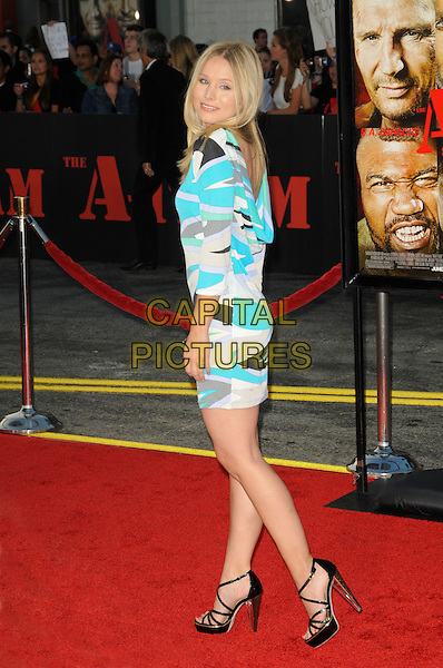 "KRISTEN BELL .arriving at the  20th Century Fox premiere of ""The A-Team"" at Grauman's Chinese Theatre in Hollywood, California, USA, June 3rd 2010..full length blue print dress cream black sleeves strappy shoes platform sandals side looking back over shoulder  body con  .CAP/ROT.©Lee Roth/Capital Pictures"