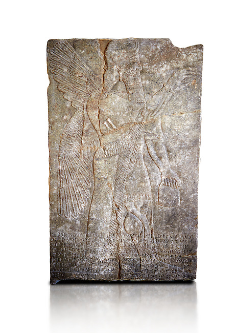Stone relief sculptured panel of a Genie blessing. From the palace of Assurnasirpal II, Nimrud, circa 865 BC. inv 9848  Louvre Museum , Paris