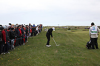 Rory McElroy playing the third after play restarted on day 3 at the 3 Irish open in Co Louth Golf Club...Photo: Fran Caffrey/www.golffile.ie..